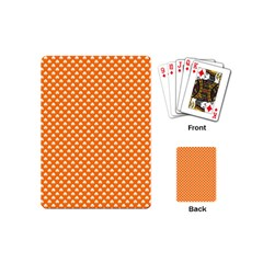 White Heart-Shaped Clover on Orange St. Patrick s Day Playing Cards (Mini)