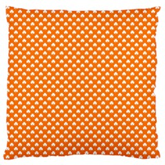 White Heart-Shaped Clover on Orange St. Patrick s Day Large Cushion Case (Two Sides)