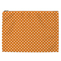 White Heart-Shaped Clover on Orange St. Patrick s Day Cosmetic Bag (XXL)