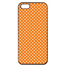 White Heart-Shaped Clover on Orange St. Patrick s Day Apple iPhone 5 Seamless Case (Black)
