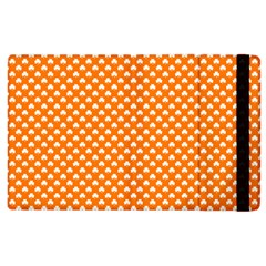White Heart-Shaped Clover on Orange St. Patrick s Day Apple iPad 2 Flip Case