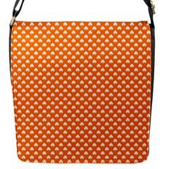 White Heart-Shaped Clover on Orange St. Patrick s Day Flap Messenger Bag (S)