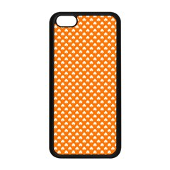 White Heart-Shaped Clover on Orange St. Patrick s Day Apple iPhone 5C Seamless Case (Black)