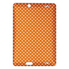 White Heart-Shaped Clover on Orange St. Patrick s Day Amazon Kindle Fire HD (2013) Hardshell Case