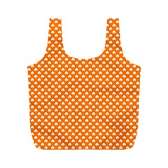 White Heart Shaped Clover On Orange St  Patrick s Day Full Print Recycle Bags (m)
