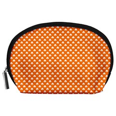 White Heart-Shaped Clover on Orange St. Patrick s Day Accessory Pouches (Large)
