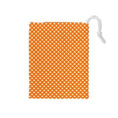 White Heart-Shaped Clover on Orange St. Patrick s Day Drawstring Pouches (Medium)
