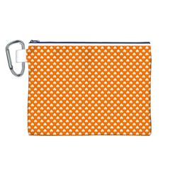 White Heart-Shaped Clover on Orange St. Patrick s Day Canvas Cosmetic Bag (L)