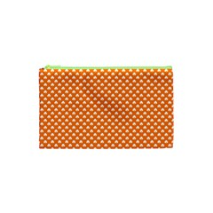 White Heart-Shaped Clover on Orange St. Patrick s Day Cosmetic Bag (XS)