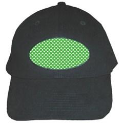 White Heart-Shaped Clover on Green St. Patrick s Day Black Cap