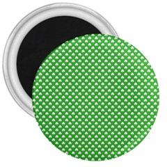 White Heart-Shaped Clover on Green St. Patrick s Day 3  Magnets