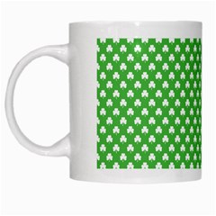 White Heart-Shaped Clover on Green St. Patrick s Day White Mugs