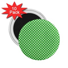 White Heart-Shaped Clover on Green St. Patrick s Day 2.25  Magnets (10 pack)