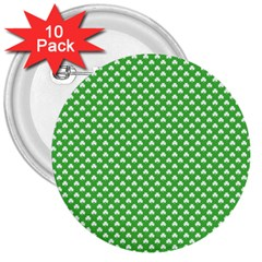 White Heart-Shaped Clover on Green St. Patrick s Day 3  Buttons (10 pack)