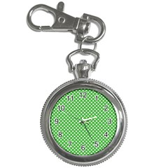 White Heart-Shaped Clover on Green St. Patrick s Day Key Chain Watches
