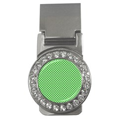 White Heart-Shaped Clover on Green St. Patrick s Day Money Clips (CZ)