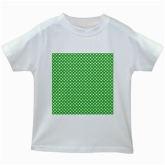 White Heart-Shaped Clover on Green St. Patrick s Day Kids White T-Shirts