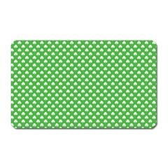 White Heart Shaped Clover On Green St  Patrick s Day Magnet (rectangular)