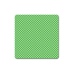 White Heart-Shaped Clover on Green St. Patrick s Day Square Magnet