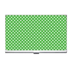 White Heart-Shaped Clover on Green St. Patrick s Day Business Card Holders