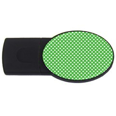 White Heart-Shaped Clover on Green St. Patrick s Day USB Flash Drive Oval (2 GB)