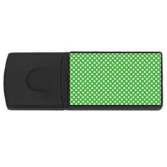 White Heart-Shaped Clover on Green St. Patrick s Day USB Flash Drive Rectangular (1 GB)