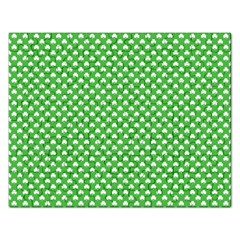 White Heart-Shaped Clover on Green St. Patrick s Day Rectangular Jigsaw Puzzl