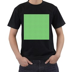 White Heart-Shaped Clover on Green St. Patrick s Day Men s T-Shirt (Black) (Two Sided)