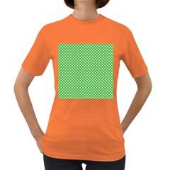 White Heart-Shaped Clover on Green St. Patrick s Day Women s Dark T-Shirt