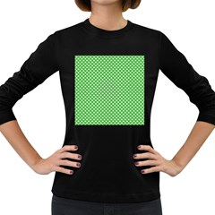 White Heart-Shaped Clover on Green St. Patrick s Day Women s Long Sleeve Dark T-Shirts