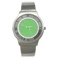 White Heart-Shaped Clover on Green St. Patrick s Day Stainless Steel Watch