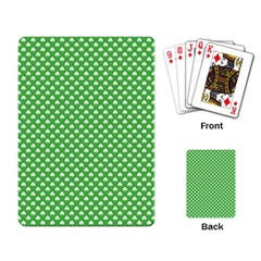 White Heart-Shaped Clover on Green St. Patrick s Day Playing Card