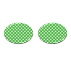 White Heart-Shaped Clover on Green St. Patrick s Day Cufflinks (Oval)