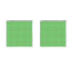 White Heart-Shaped Clover on Green St. Patrick s Day Cufflinks (Square)