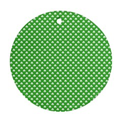 White Heart Shaped Clover On Green St  Patrick s Day Round Ornament (two Sides)