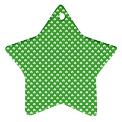 White Heart Shaped Clover On Green St  Patrick s Day Star Ornament (two Sides)