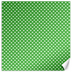 White Heart-Shaped Clover on Green St. Patrick s Day Canvas 12  x 12
