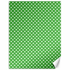 White Heart-Shaped Clover on Green St. Patrick s Day Canvas 12  x 16