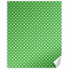 White Heart-Shaped Clover on Green St. Patrick s Day Canvas 16  x 20