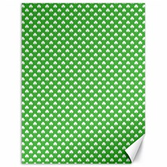 White Heart-Shaped Clover on Green St. Patrick s Day Canvas 18  x 24