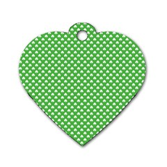 White Heart-Shaped Clover on Green St. Patrick s Day Dog Tag Heart (One Side)