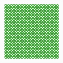 White Heart-Shaped Clover on Green St. Patrick s Day Medium Glasses Cloth (2-Side)