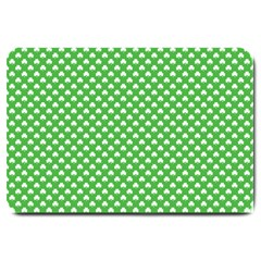 White Heart-Shaped Clover on Green St. Patrick s Day Large Doormat