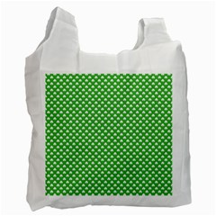 White Heart-Shaped Clover on Green St. Patrick s Day Recycle Bag (One Side)