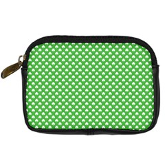 White Heart-Shaped Clover on Green St. Patrick s Day Digital Camera Cases