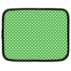 White Heart-Shaped Clover on Green St. Patrick s Day Netbook Case (XL)