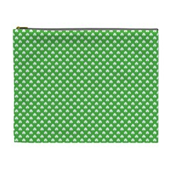 White Heart-Shaped Clover on Green St. Patrick s Day Cosmetic Bag (XL)
