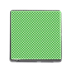 White Heart-Shaped Clover on Green St. Patrick s Day Memory Card Reader (Square)