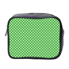 White Heart-Shaped Clover on Green St. Patrick s Day Mini Toiletries Bag 2-Side