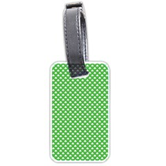 White Heart-Shaped Clover on Green St. Patrick s Day Luggage Tags (One Side)
